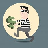 picture of stealing  - Vector Thief Running Stealing Money with concept - JPG