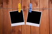 image of clotheslines  - Blank instant photo hanging on the clothesline - JPG