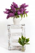 image of wooden crate  - lilacs and lilies of the valley on a wooden crate  - JPG