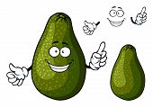 stock photo of avocado tree  - Fresh ripe dark green avocado fruit cartoon character with toothy smile and googly eyes suited for salad - JPG
