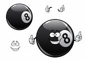 Постер, плакат: Cartoon billiards snooker pool eight ball character