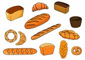 stock photo of pretzels  - Bakery products with cartoon loaves of white and brown bread - JPG