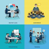 pic of business class  - Conference design concept set with master class presentation training flat icons isolated vector illustration - JPG