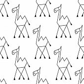image of interior sketch  - Funny african desert camel seamless pattern background in doodle sketch style suitable for childish interior decor or wallpaper design - JPG