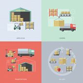 stock photo of transportation icons  - Warehouse design concept set with loading transportation and delivery flat icons isolated vector illustration - JPG