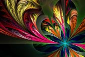 image of asymmetric  - Diagonal asymmetrical multicolor fractal tracery - JPG
