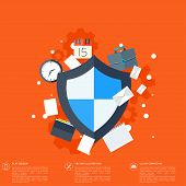 pic of social-security  - Flat shield icon - JPG