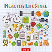 picture of fish icon  - Vector Healthy lifestyle sticker set with shadow on the notebook sheet - JPG