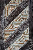 stock photo of timber  - Detail of French half timbered building style - JPG