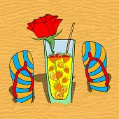 stock photo of sand lilies  - Set of summer flip flops and cocktail on hot sand - JPG