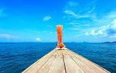 stock photo of pov  - Adventure seascape background of trip journey by tourist boat in Thailand at clear summer day with blue sky - JPG