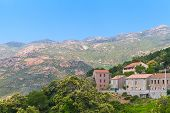 image of stone house  - Rural Corsican landscape old stone houses and mountains - JPG