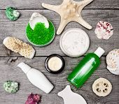 stock photo of baste  - Spa cosmetics and accessories - JPG