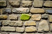 picture of homogeneous  - Stone wall background at high resolution - JPG