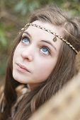 image of hippy  - Beautiful teenage girl styled in a hippy look - JPG