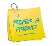 Постер, плакат: Refer A Friend Post Memo Sign Concept