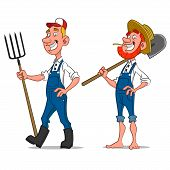 stock photo of caricatures  - farmers - JPG