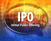 image of initials  - word speech bubble illustration of business acronym term IPO Initial Public Offering - JPG