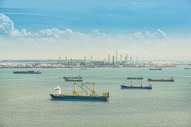 picture of refinery  - Oil refinery and oil tanker ship in sea Singapore  - JPG