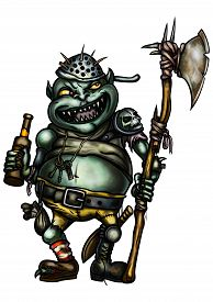 stock photo of goblin  - Illustration a scary goblin warder dressed in trash equipment with an axe holding a bottle of beer - JPG