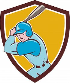 stock photo of bat  - Illustration of an american baseball player batter hitter with bat batting set inside shield crest done in cartoon style isolated on background - JPG