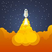 Rocket And The Space. Evening Rocket Launch. Concept.  Start Up, Business And Promotion For Success. poster
