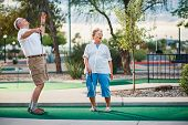 retired couple having fun playing mini golf poster