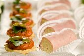 stock photo of crudites  - Small party snacks on a tray waiting to be served - JPG