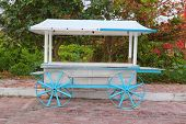 Ice cream hot dogs cart white blue in Caribbean island Isla Mujeres Mexico