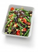 three bean salad,scarlet runner bean,green bean,chickpea poster