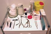 stock photo of medical supplies  - medical equipment at practice of a general practioner - JPG