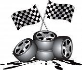 Постер, плакат: гоночные флаги проверки и шины на нефти