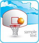 Постер, плакат: баскетбольное кольцо и спинодержатель на облако баннер