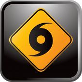 picture of hurricane wind  - hurricane warning sign on glossy web button - JPG