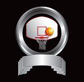 Постер, плакат: баскетбольное кольцо и спинодержатель на гребень в форме отображения