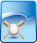 baseball and crossed bats on blue rip curl background