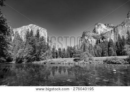 Merced River With Famous Rock