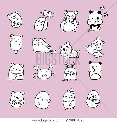 poster of Set Of Cute Doodle Cats . Sketch Cat . Character Cats. Cat Handmade . Print T-shirts For The Cat . C