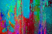 Extreme Colorful Wooden Wall With Old Weathered Blue Pink Red Green Colors poster