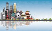 Welcome to China Skyline with Gray Buildings, Blue Sky and Reflections. Famous Landmarks in China. B poster