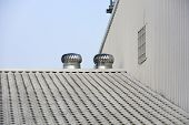 Two Of Metal Air Ventilators Or Air Blower Cooling On The Metal Sheet Factory Roof Spinning Take Coo poster