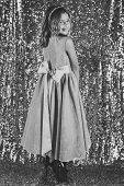 Look, Hairdresser, Makeup. Little Girl In Fashionable Dress, Prom. Fashion Model On Silver Backgroun poster