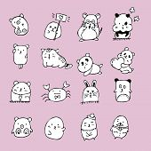Set Of Cute Doodle Cats . Sketch Cat . Character Cats. Cat Handmade . Print T-shirts For The Cat . C poster