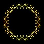 Antique Ring Circle Gold Ornaments With Black Background, Baroque Ornaments, Scroll Ornaments, Borde poster