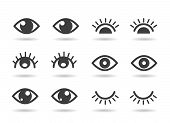 Eyes And Eyelashs Icons. Open Ad Closed Human Eye Icon Set, Cute Graphic Silhouettes Vector Eyes poster