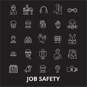 Job Safety Editable Line Icons Vector Set On Black Background. Job Safety White Outline Illustration poster