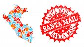 Composition Of Winter And Fire Map Of Peru And Santa Mail Grunge Stamp Seal. Mosaic Vector Map Of Pe poster