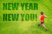 New Year 2019 Resolution happy fitness man running for weight loss on green grass background. Active poster