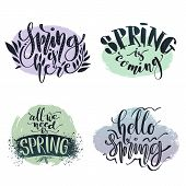 Vector Calligraphic Set. Spring Related Phrases Set. Spring Is Here, Coming, Hello And All We Need I poster