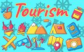 Tourism Concept Banner. Cartoon Banner Of Tourism Vector Concept For Web, Giftcard And Postcard poster